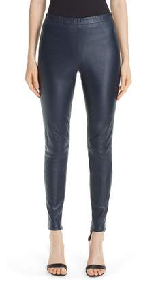 St. John Stretch Nappa Leather Crop Leggings