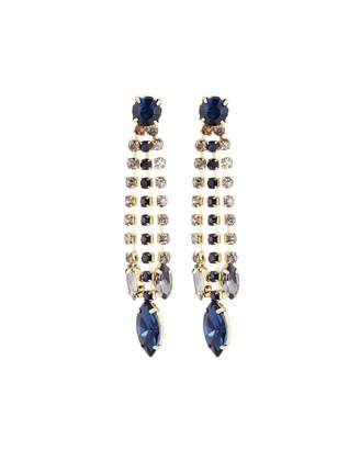 Emily and Ashley Greenbeads By Linear Midnight Blue Crystal Drop Earrings
