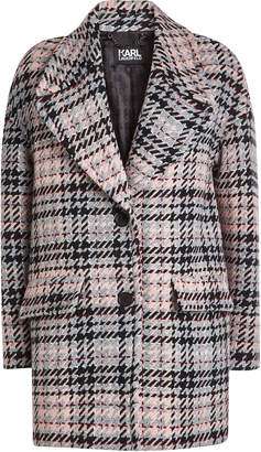 Karl Lagerfeld Paris Oversized Check Coat with Wool