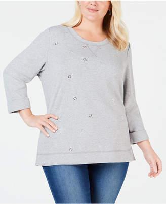 973211b691c Karen Scott Gray Plus Size Tops - ShopStyle