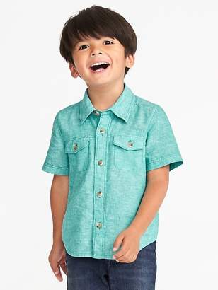 Old Navy Double-Pocket Linen-Blend Shirt for Toddler Boys