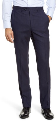 Santorelli Flat Front Stretch Solid Wool Trousers