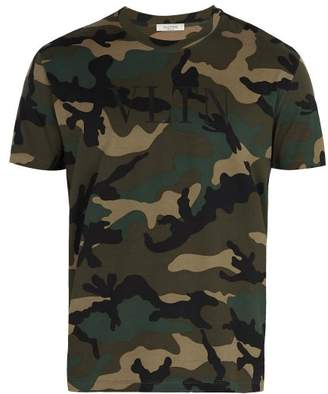 Valentino Vltn Camouflage Print Cotton Jersey T Shirt - Mens - Green