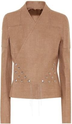 Rick Owens Snap camel and linen jacket