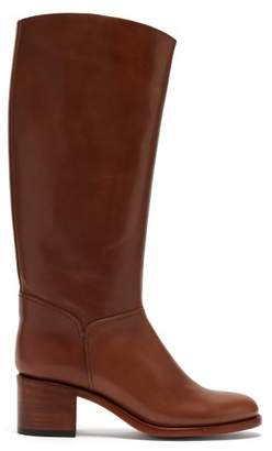 A.P.C. Iris Leather Riding Boots - Womens - Tan