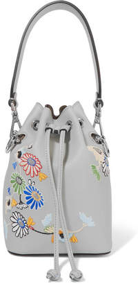 Fendi Mon Trésor Small Embroidered Leather Bucket Bag - Light blue