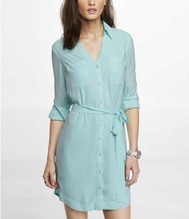 Express Sleeveless Portofino Shirt Dress