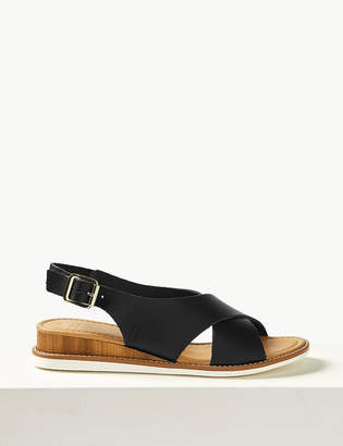 b3080880f38e Marks and Spencer Leather Wedge Heel Cross Over Strap Sandals