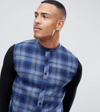 SikSilk grandad collar check shirt in blue with jersey sleeves exclusive to ASOS