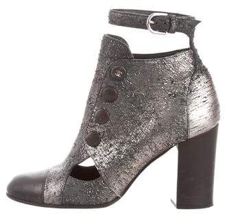 Chanel Metallic Cutout Ankle Boots