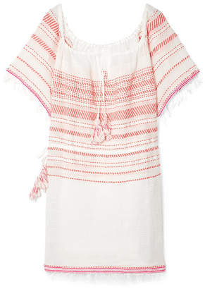 Lemlem Tiki Fringed Embroidered Cotton-blend Gauze Dress - medium