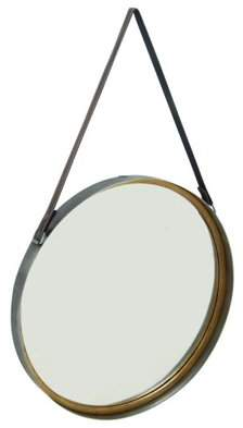 DecMode Decmode 33 Inch Modern Yellow Iron Mirror With Hanging Strap, Yellow