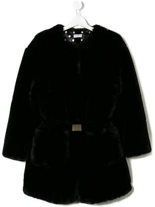 MonnaLisa belted faux fur coat