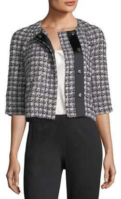 St. John 3/4-Sleeve Soft Plaid Jacket