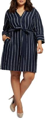 Dex Plus Striped Belted Button-Front Dress