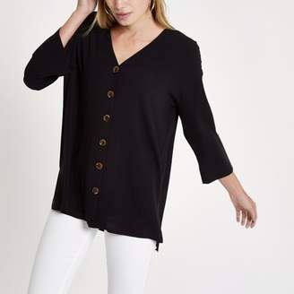 River Island Womens Black button up long sleeve blouse