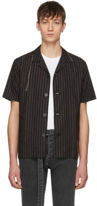 Christian Dada Black Pinstripe Open Collar Shirt