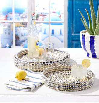 Twos Company Set of 6 Nested Woven Trays in Blue, Natural