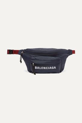 Balenciaga Embroidered Canvas Belt Bag - Navy