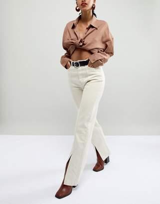 Asos Design DESIGN leather hammered circle buckle jeans belt in silver