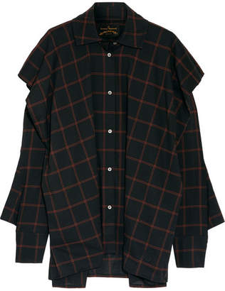 Vivienne Westwood Anglomania - Fever Oversized Checked Cotton-blend Voile Shirt - Black