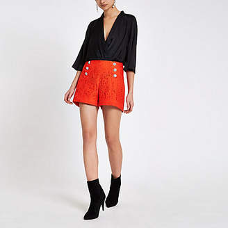 River Island Womens Red lace diamante button shorts