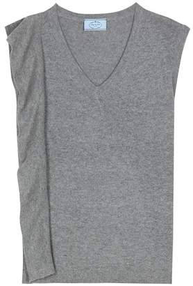 Prada Sleeveless asymmetrical wool and cashmere sweater