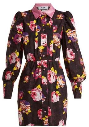 MSGM Floral Print Cotton Shirtdress - Womens - Black Multi
