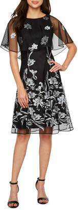J Taylor Sleeveless Embroidered Floral Cape Fit & Flare Dress