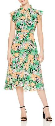 Sandro Maline Floral-Print Silk Midi Dress