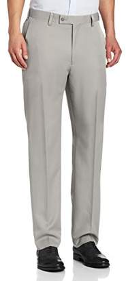 Louis Raphael Men's Modern Fit Flat Front Serge Weave Solid Dress Pant