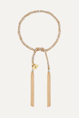 Carolina Bucci Protection Lucky 18-karat Gold, Diamond And Silk Bracelet