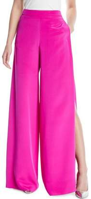 Cushnie et Ochs High-Waist Wide-Leg Silk Crepe Pants w/ Side Slits