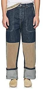Loewe Men's Patch Cuffed Carpenter Jeans-Blue