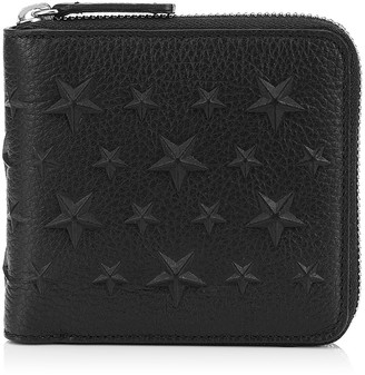 Jimmy Choo LAWRENCE Black Grainy Leather Wallet with Embossed Stars