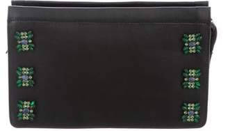Dannijo Embellished Leather Zip Pouch