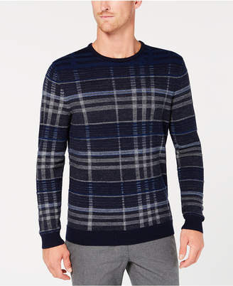 Tasso Elba Men's Plaid Merino Wool Sweater