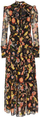 Alexis Sabryna Ruffle-Tiered Floral-Print Midi Dress Size: S