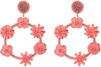 Oscar de la Renta Flower threaded hoop earrings
