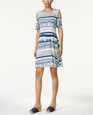 Style & Co Cold-Shoulder Flutter-Sleeve Dress, Only at Macy's $49.50 thestylecure.com