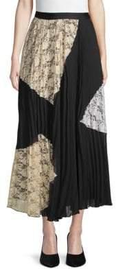 Derek Lam Pleated Lace A-Line Skirt