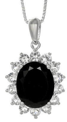 FINE JEWELRY Oval Genuine Black Onyx and Lab-Created White Sapphire Pendant Necklace