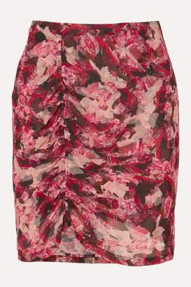 IRO Thorn Ruched Floral-print Crepon Mini Skirt - Fuchsia