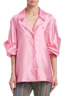 Rosie Assoulin Peek-a-Boo Silk Blouse