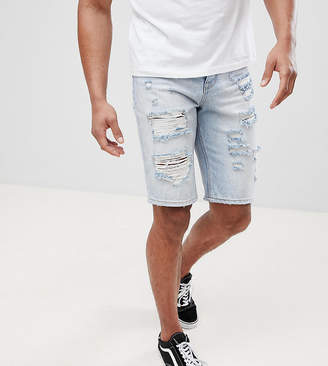 Asos TALL Denim Shorts In Slim light Wash With Heavy Rips