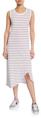 Frank And Eileen Striped Asymmetric Jersey Tank Dress
