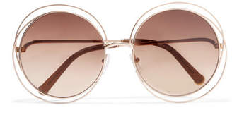 Chloé - Carlina Round-frame Rose Gold-tone Sunglasses - Brown $375 thestylecure.com