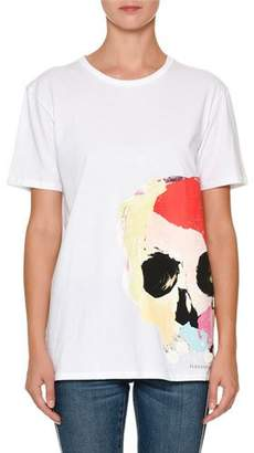 Alexander McQueen Crewneck Short-Sleeve T-Shirt with Painted Skull