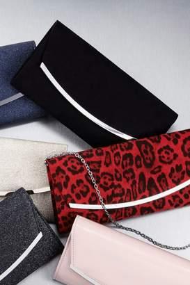 Next Womens Red Leopard Print Curve Clutch Bag