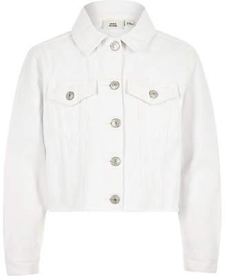 River Island Girls white frayed hem denim jacket